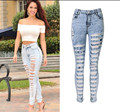 New sexy distressed high waisted washed hole jeans full length pencil pants trousers leggings jegging plus size woman women