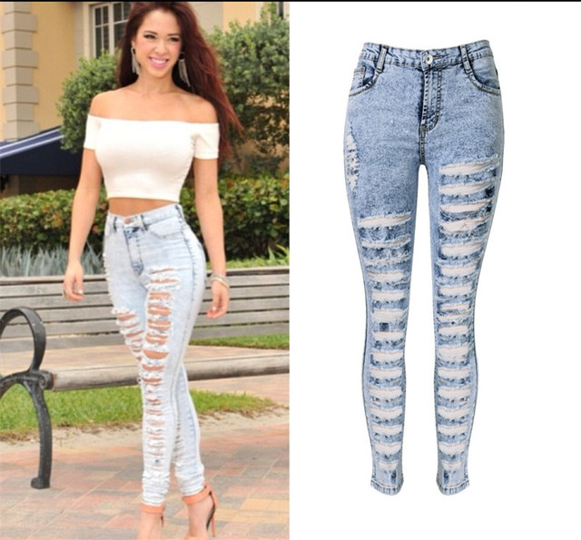 a3dd68e205c793 New sexy distressed high waisted washed hole jeans full length pencil pants  trousers leggings jegging plus size woman women