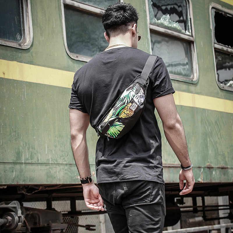 Tendenza strada della vita Degli Uomini di sacchetto di Grande capacità di stampa sacchetto della cinghia del sacchetto Degli Uomini Borsa Da Viaggio delle Adolescente petto pacchetto di Sigarette Caso per il Telefono