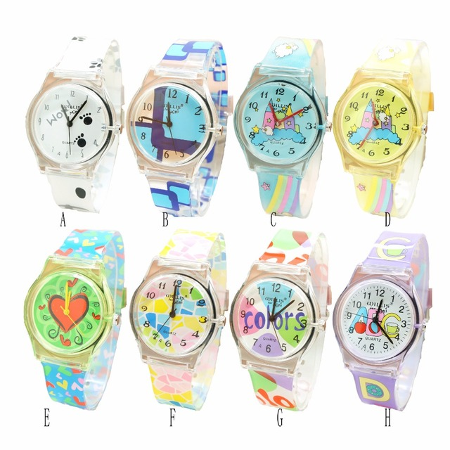New Cartoon Children Watch Boy Girl Kids Movement Waterproof Leather Sports Quar