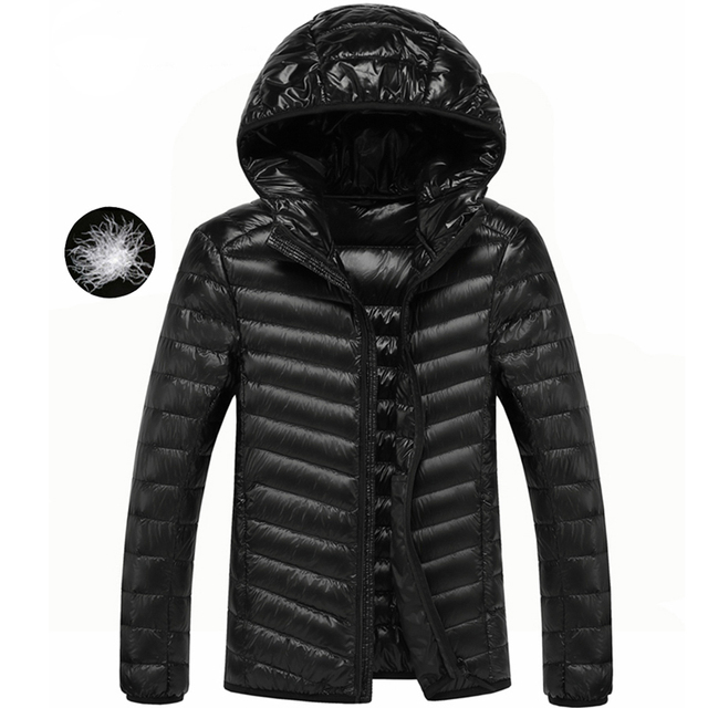 2a85bf6cd770 Hot Sell Winter Men s Ultra Light White Duck Down Jacket Hooded High  Quality Coats Mens Clothing Warm Parka Outwear ZZ095