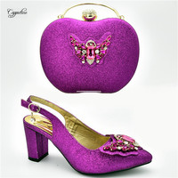 Latest magenta color lady sandal shoes with party bag sets with nice stones 108 3 heel height 7cm