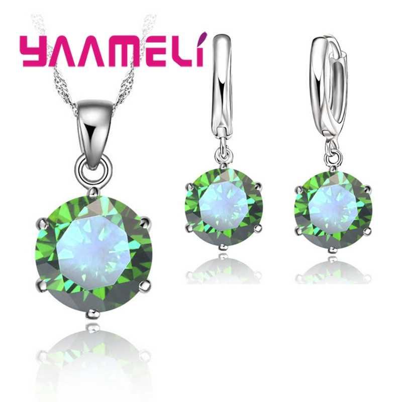 80% הנחה חתונה תכשיטים עבור כלות 925 כסף נקה CZ תליון עגילי שרשרת כלה Jewelrys