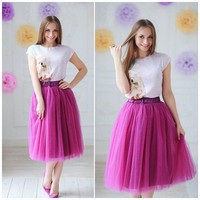 Falda Saia Hot Pink Knee Length Tulle Skirts 2017 Elastic Plus Size Pleated Midi Skirt For Women New Arrival Color Size Free
