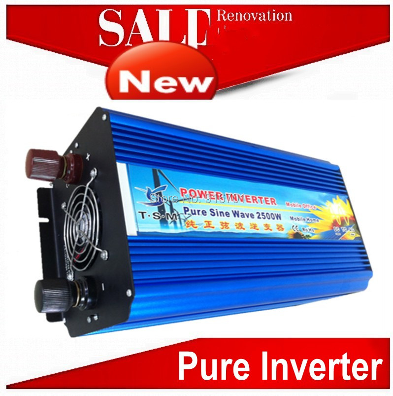 цена на Free shipping dc to ac power inverter 2500w peak power 5000w Pure sine wave home/wind/car/solar power inverter 12 220