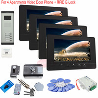 For 4 Apartments 7 Inch TFT Door Phone Video Doorbell Intercom Security IR Camera +RFID Electronic lock In Stock!