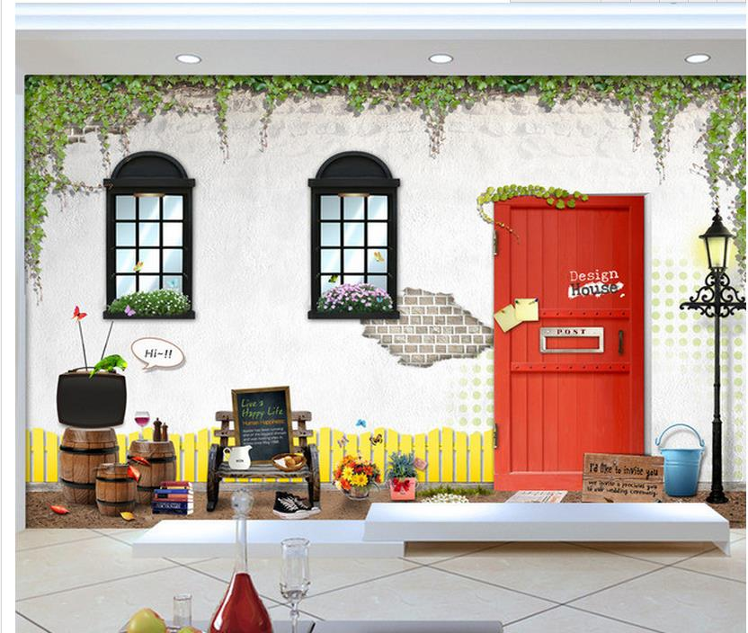 European style cottage red wooden barrels street wall room modern wallpaper Home Decoration 3d name wallpapers