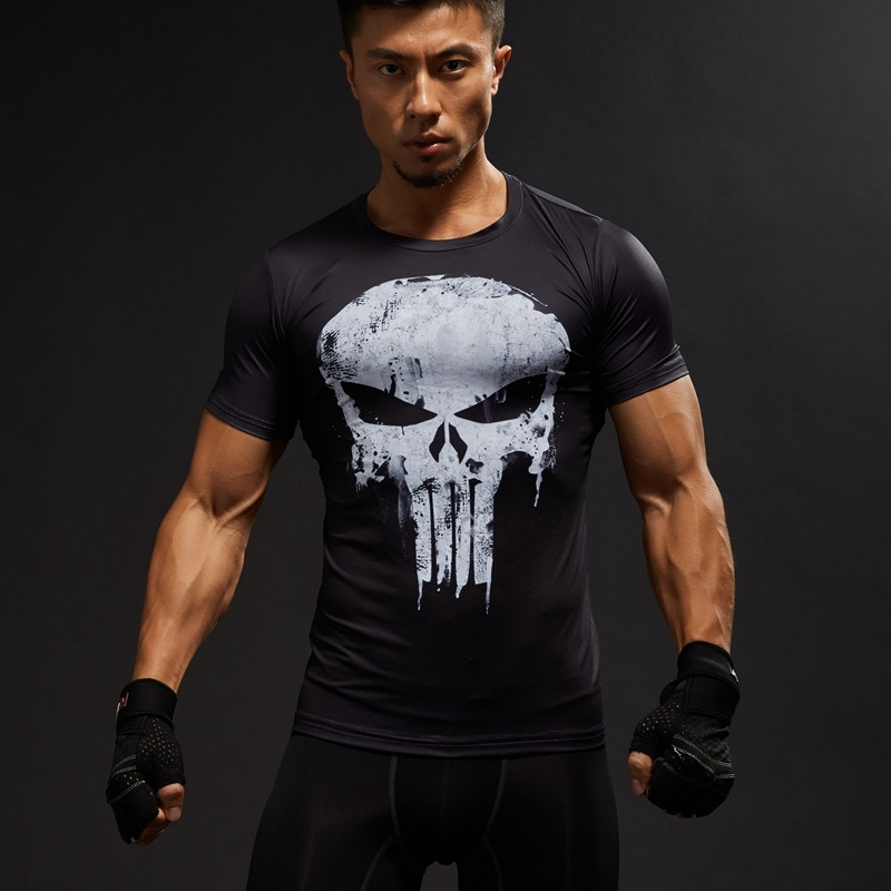 2018 Compression Shirts Men 3D Printed T-shirts Short Sleeve Cosplay MAA Fitness Body Building Male Crossfit Tops Punk Skull Ske