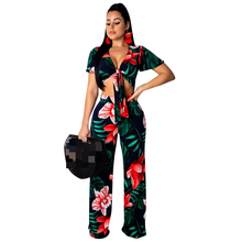 2 Pics Set Women Tracksuit Summer Floral Print Tied Bow Sexy V Neck Short Sleeve Crop Top+Long Pants Femme Outfit Beachwear