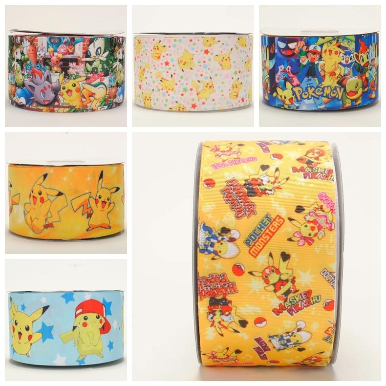 2016 NEW 50Y3 75mm lovely pokemon pattern printed grosgrain pikachu ribbon free shipping
