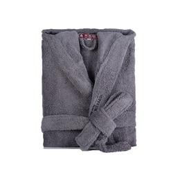Mannen Gewaad Winter Hooded Dikke Katoenen Lange Badjas Vrouwen Mannelijke Plsu maat XXL Warm Kinmono Badjassen Comfort Grijs Wit badjas