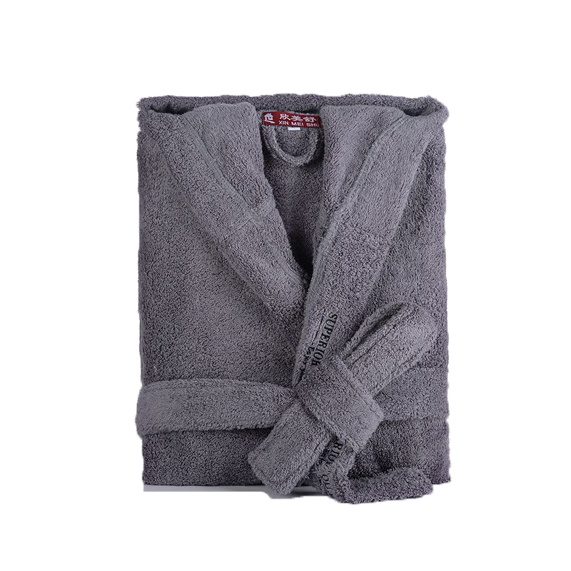 Men's Robe Winter Hooded Thick Cotton Long Bathrobe Women Male Plsu Size XXL Warm Kinmono Bathrobes Comfort Gray White Bath Robe