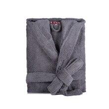 Mens Robe Winter Hooded Thick Cotton Long Bathrobe Women Male Plsu size XXL Warm Kinmono Bathrobes Comfort Gray White Bath