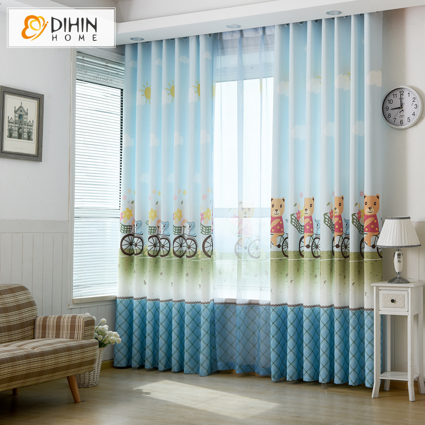 DIHIN 1 PC Cartoon Lovely Children Blockout Curtains For Living Room Window  Drapes Ready Made Product