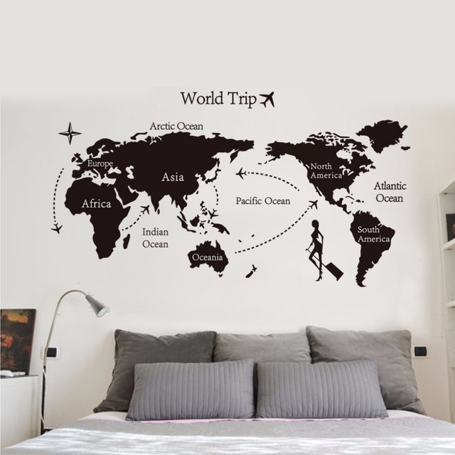 60*90cm world trip global map wall stickers office living room decor
