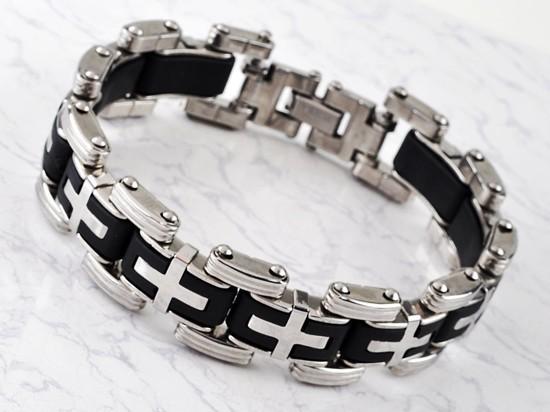New-Men-s-High-Quality-Stainless-Steel-Bracelet-Silver-Link-Black-Rubber-Bangle (9)