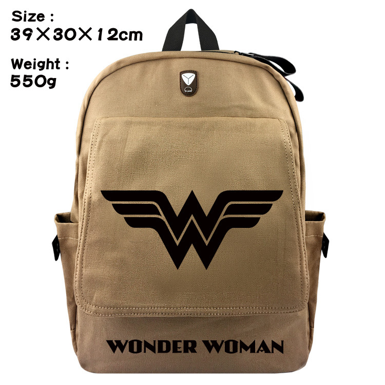 Wonder woman student leisure travel bag canvas backpack joker bags for men and women