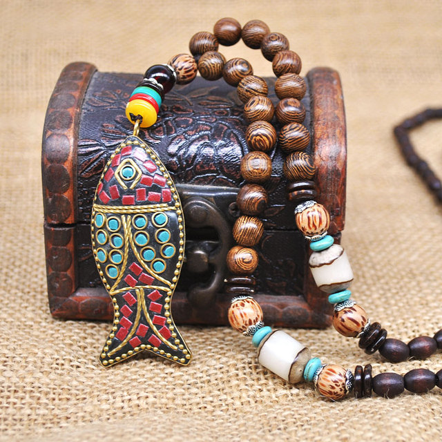 Yumfeel Handmade Nepal Jewelry Buddhist Mala Wood Beads Pendant Necklace Ethnic Horn Fish Long Statement Necklace For Women Men 5