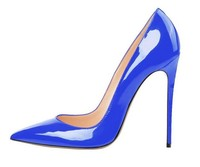 Deep Blue Patent Leather Pumps Pointed Toe Slip on Hight Heels Ladies Wedding Dress Shoes Metal Heel Stiletto Shoos for Women