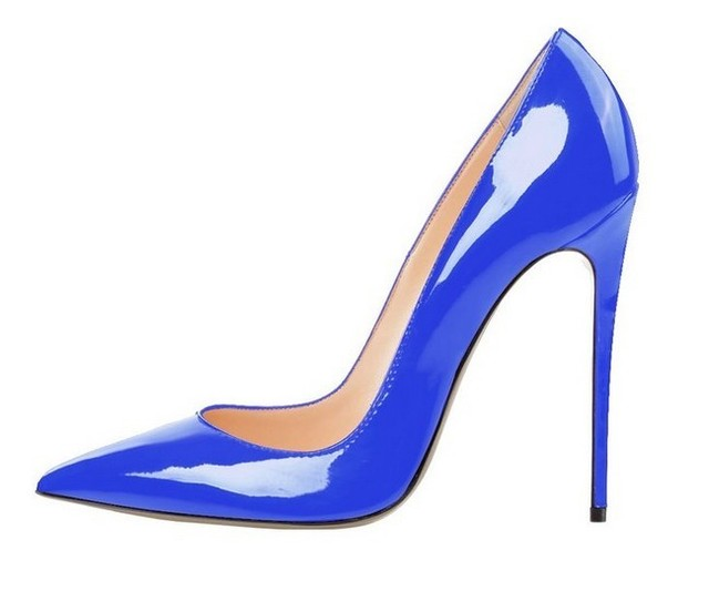 Deep Blue Patent Leather Pumps Pointed Toe Slip-on Hight Heels Ladies  Wedding Dress Shoes Metal Heel Stiletto Shoos for Women
