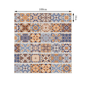Image 2 - 6pcs Classic Design Tile Stair Risers Stickers Set Staircase Decals Removable Waterproof Mural Wallpaper for Home Decoration