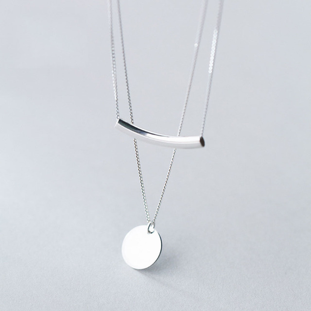 Coins Pendant 925 Silver Layered Necklace Choker Kolye Charm Minimalism Vintage Boho Bijoux Femme Collier Necklace Women Jewelry