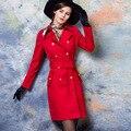Británico de las mujeres trinchera abrigo de primavera otoño delgado cruzado sólido gabardina larga con cinturón