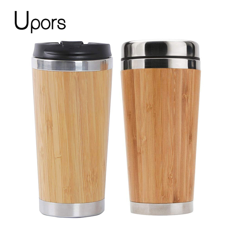 554faeb92802 UPORS 450ML Natural Bamboo Travel Mug with Lid Stainless Steel Coffee Cup  Tumbler Bottles Beer Coffee Mug Tea Cup ~ Best Seller July 2019