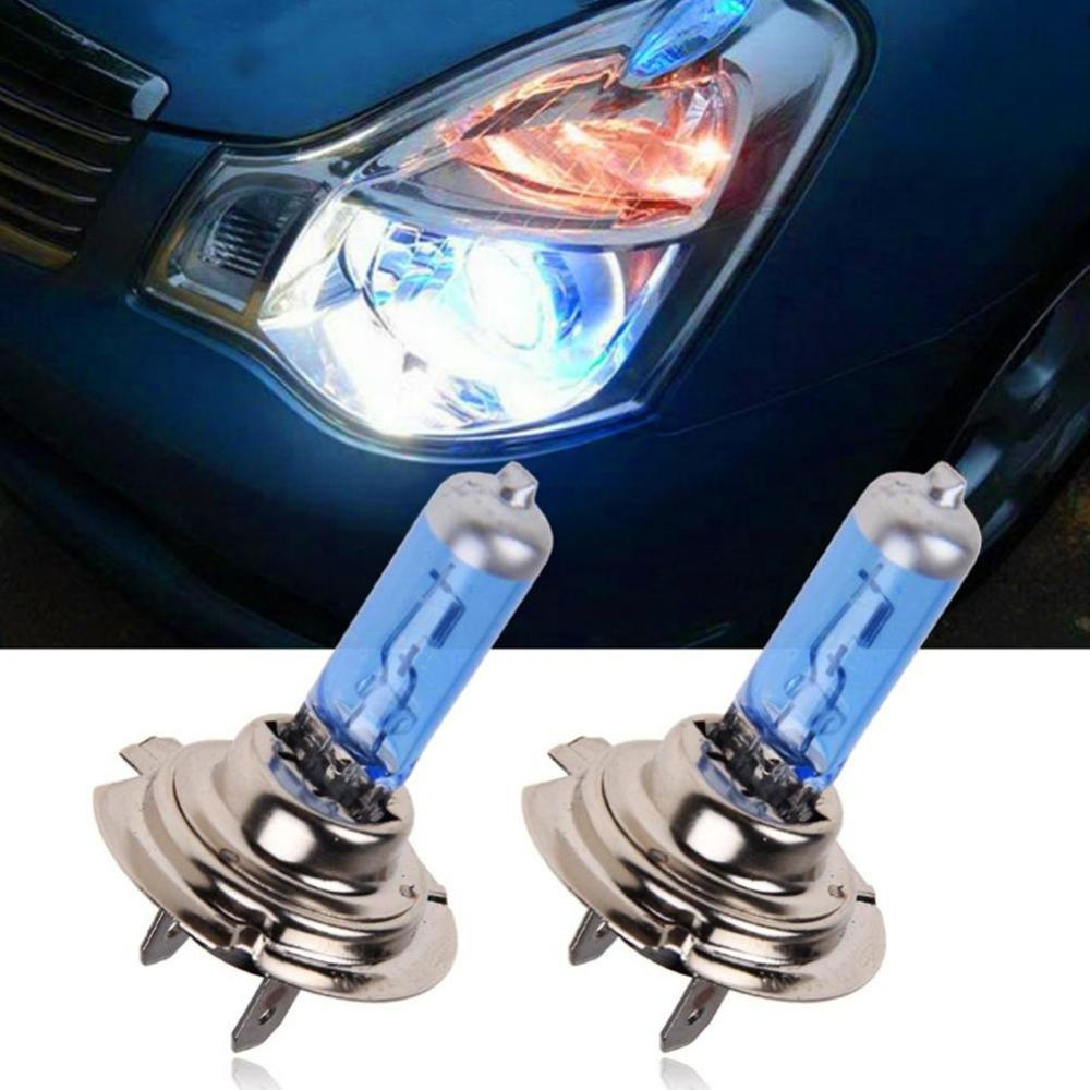 NEW 2 Pcs H7 6000K Gas Halogen Headlight Blue Housing Provides White Light Lamp Bulbs 55W 12V Automotive Headlights Ultra Quartz