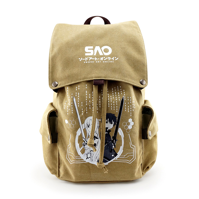 SAO Sword Art Online Canvas  Backpack Rucksack Mochila School Shoulder Travel Students Bag Clam shell Cover  Drawstring Cospaly scione ethnic canvas backpack printing elephant butterfly drawstring casual rucksack travel shoulder bag mochila feminina xa739a