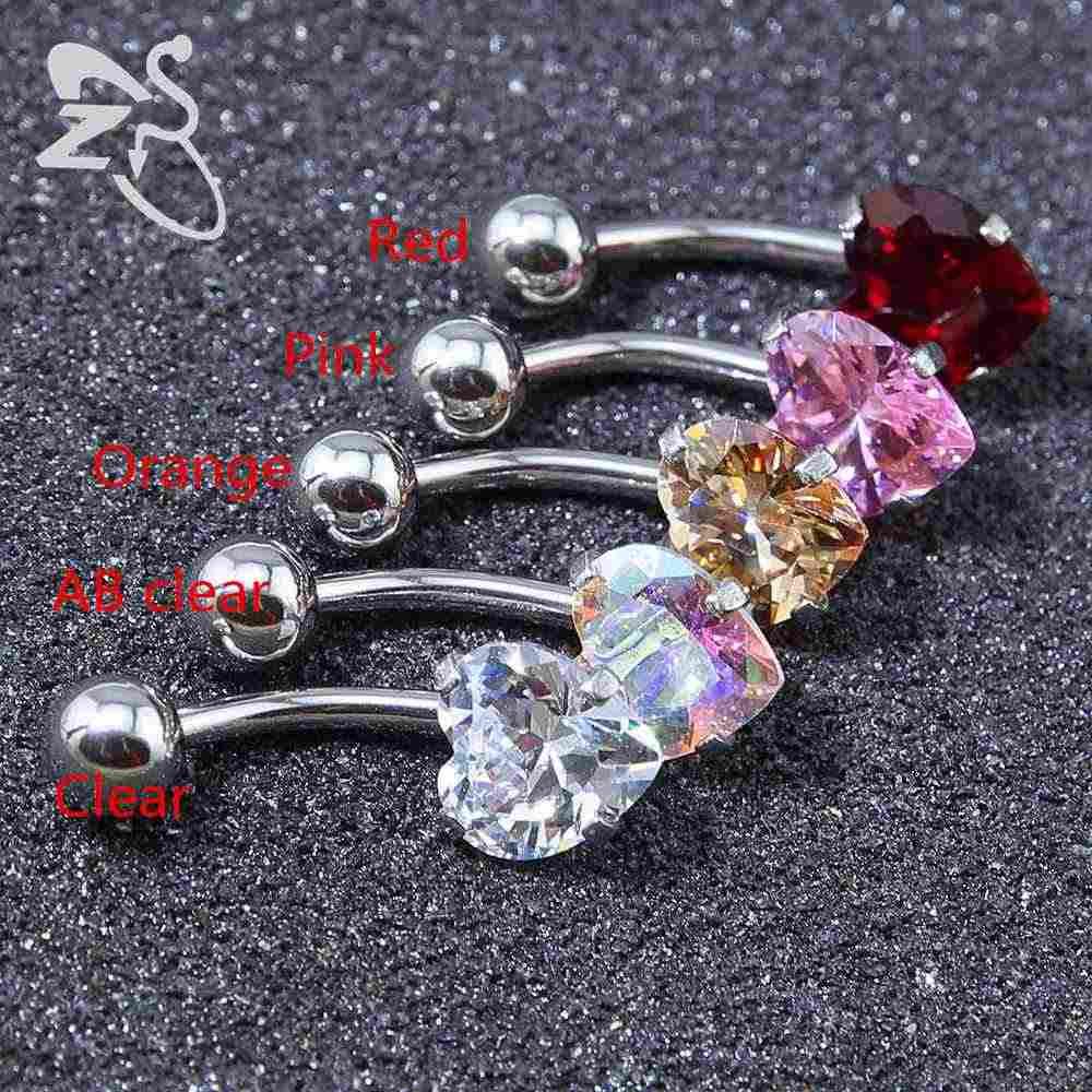 2017 1 Pc Lovely Heart Kristal Belly Pusar Bawah Cincin Bedah Baja Navel Belly Rings Piercing Barbell Untuk Wanita Perempuan perhiasan