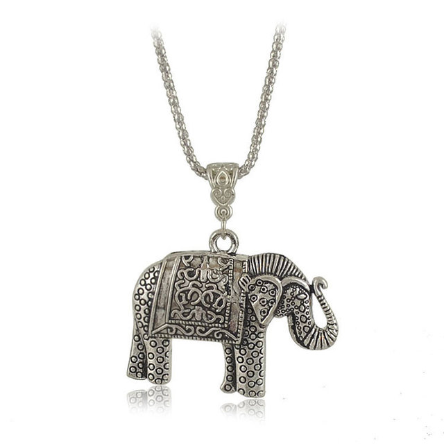 long pendant chain thai necklace item fashion elephant antique woman animal silver