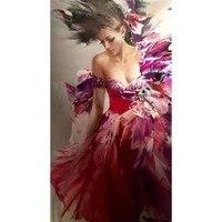 Красоты девушка модульная Настенная живопись на холсте картина маслом ручной работы Большой Дешевые Современная холсте Декор картинки для