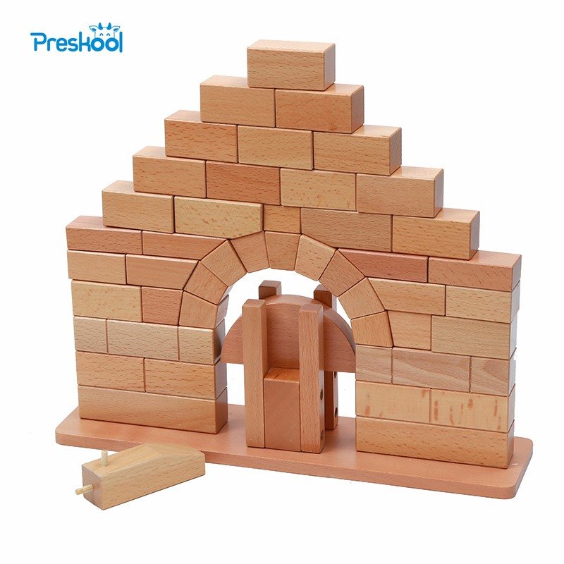Baby Toy Montessori Roman Bridge Wood for Early Childhood Education Preschool Kids Brinquedos Juguetes new wooden baby toy montessori cylinder blocks sensorial preschool training early childhood education