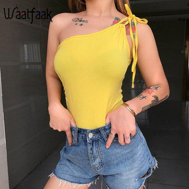Waatfaak vendaje hombro amarillo sólido sin mangas trajes casuales pantalones cuerpo de las mujeres de verano Harajuku mono de algodón 2019