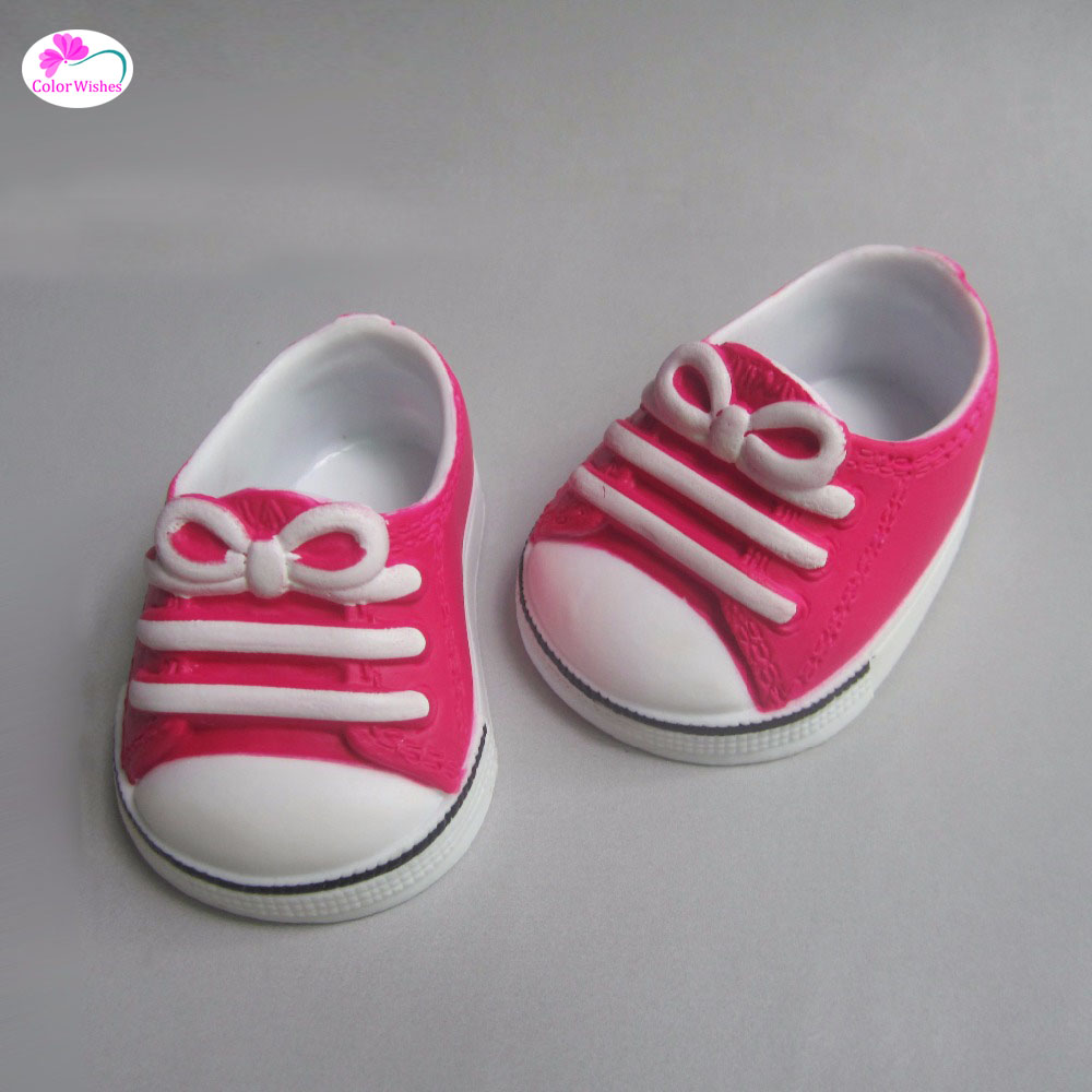 7.5cm Shoes for Dolls red Rubber sports shoes fits 43 cm Zapf dolls baby born and 18 American Girl Accessories for dolls