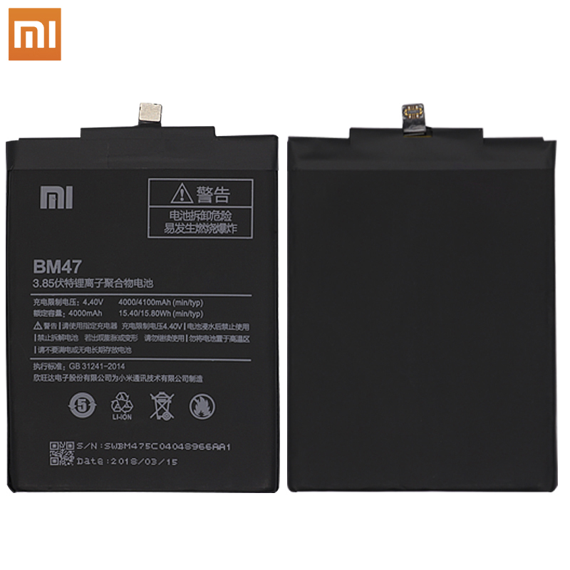 Mobile Phone Parts 100% New Original Bm47 4000mah With Temperature Sensor Battery For Xiaomi Redmi 3 3s 3x For Redmi 4x Battery