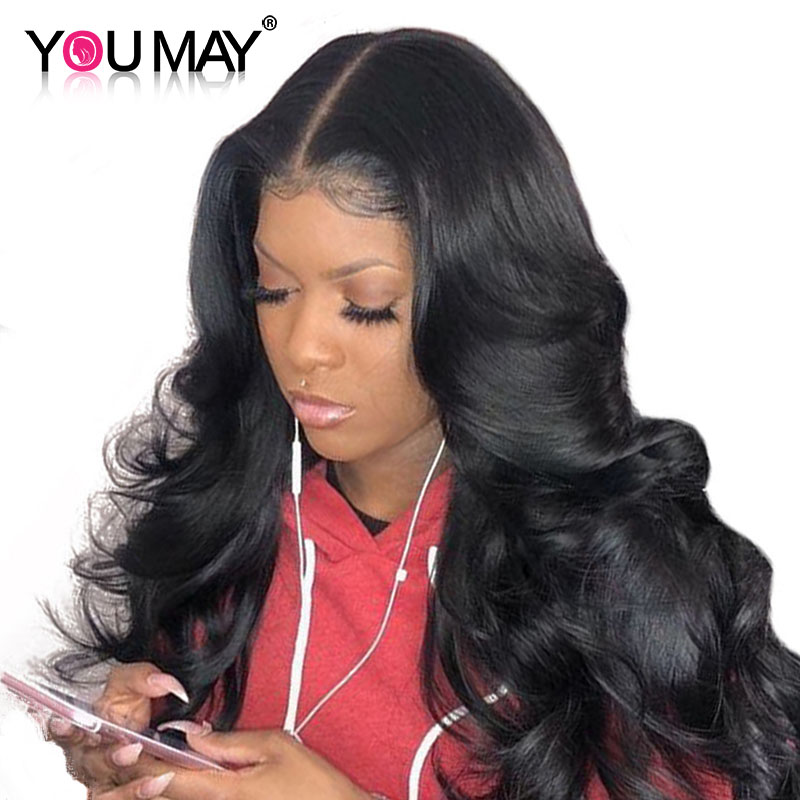 You May Hair 250% Density Pre Plucked Lace Front Wigs With Baby Hair Brazilian Body Wave Non-remy 12-24inch Natural Black Color