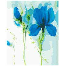 WONZOM Simple Blue Flower Framed Pictures Painting By Numbers of Handwork Canvas Oil Home Decor For Living Room