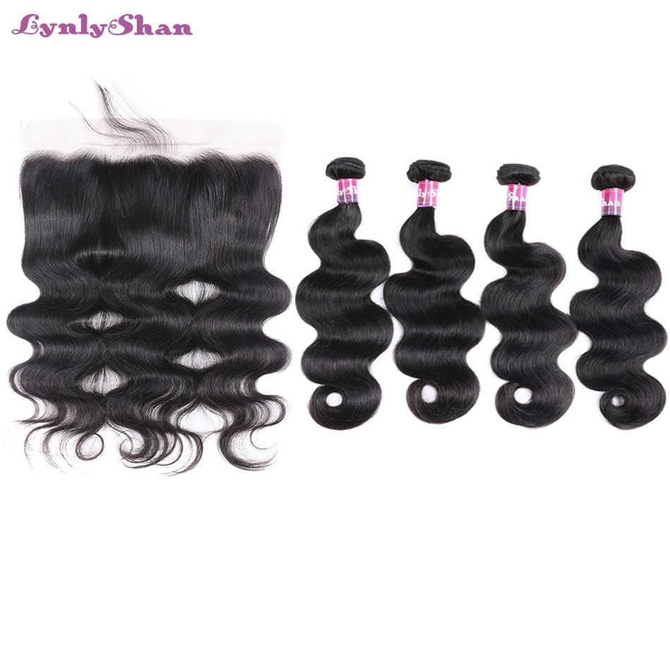 Lynlyshan волосы перуанские волнистые с фронтальным кружевом 4 пучка с 13*4 Бесплатная средняя часть кружева Фронтальная 100% Remy человеческие волосы