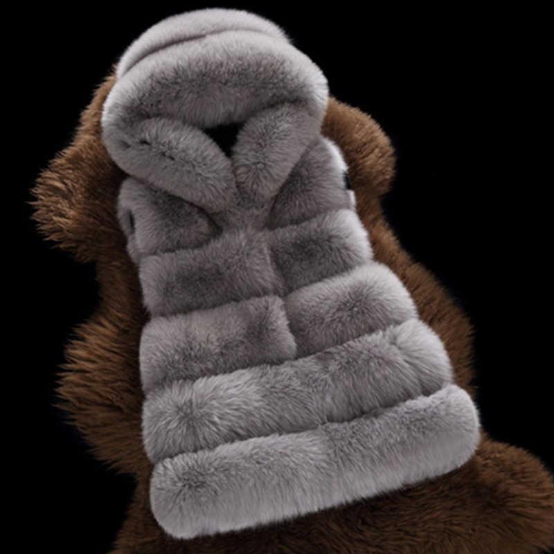 Женский меховой жилет большого размера с капюшоном, пальто 2019 6XL, зимний толстый теплый жилет из искусственного лисьего меха 2019, куртка из искусственного меха V225