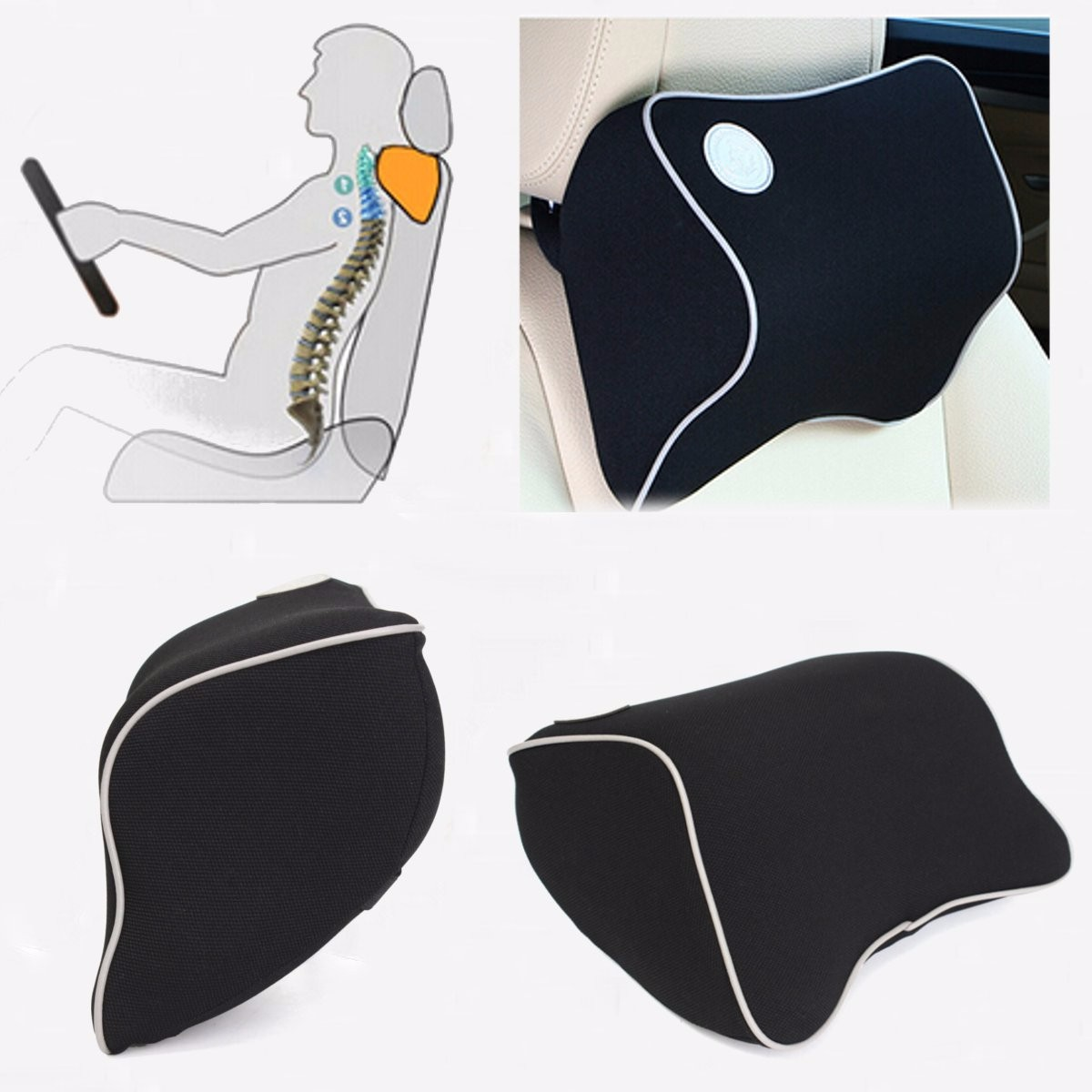 Car seat head neck rest massage memory foam cushion support headrest china
