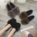 Spring and autumn rabbit fur shoes female round toe plush winter flats with bowtie Moccasins flats heel work shoes loafers