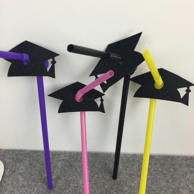 Freeshipping Graduation Party Straw Decpration Color Party
