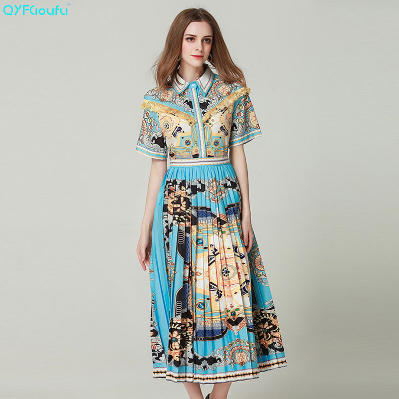 QYFCIOUFU 2019 été Boutique robe mi-longue femmes à manches courtes imprimer piste longue robe mode élégante étoile luxe robe plissée