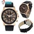 Excelente Qualidade Moda de Genebra de Quartzo dos homens de Luxo Relógios de Quartzo Relógio de Pulso com Pulseira de Couro Relogio masculino 11.11.