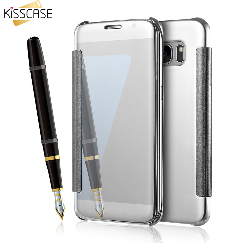 KISSCASE For Samsung S6 Edge Hard Plastic Flip Plating Makeup Mirror Case For Samsung Galaxy S8 S8 Plus S7 Edge Case Cover Coque