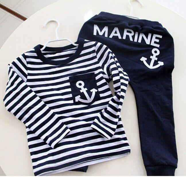 Spring Kids Clothes, Navy Long Sleeve Pullover Striped Sports Suit, Hot Sale New 2018 Casual Boys Clothing Set