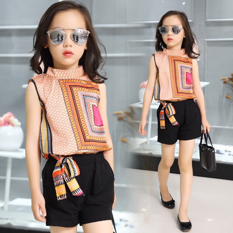 Kids Girls Sleeveless Suit 2017 New Summer Children's Chiffon Casual T-shirt+Shorts Sets Big Virgin Piece Shorts Girl Clothes
