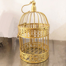 19x35cm Handmade Antique gold metal decorative wedding bird cage set decoration favors and gifts